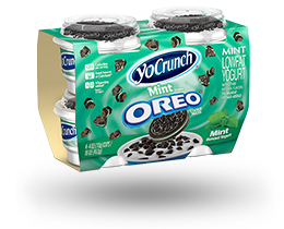 YoCrunch Mint Creme Lowfat Yogurt with Oreo Pieces 4 Pack